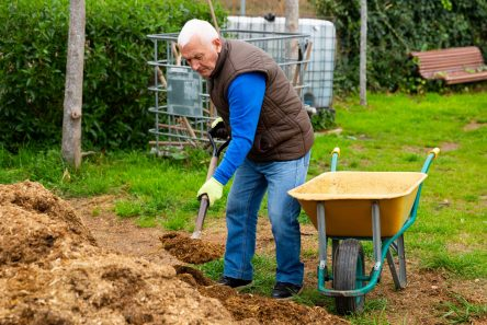 haven ældre mand kompost trillebør