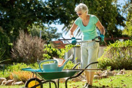 Kvinde have grøn bluse trillebør